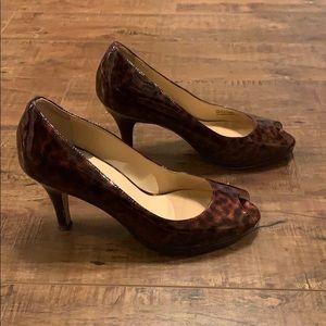 Cole Haan Tortoiseshell Peep-Tow Heels